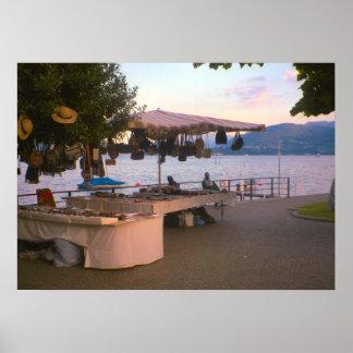 Lake Como, Craft stall at Belaggio Poster