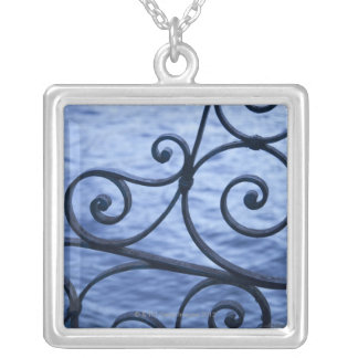 Lake Como, detail, view of walkway iron railing Silver Plated Necklace