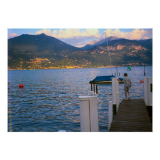Lake Como, Fishing from the landing stage Poster