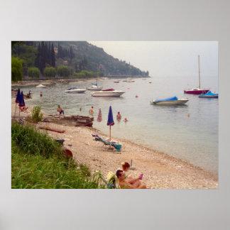 Lake Como, On the beach, Menaggio Poster