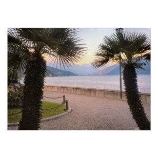 Lake Como, Palm trees on the waterfront Poster