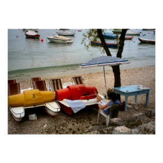 Lake Como, Relaxing by the lake Poster