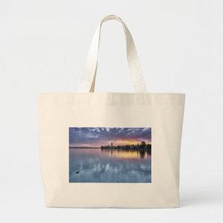 lake Constance Christmas city lights landscape Large Tote Bag