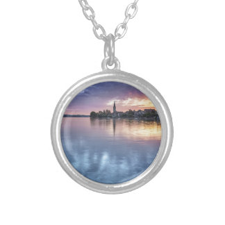 lake Constance Christmas city lights landscape Silver Plated Necklace