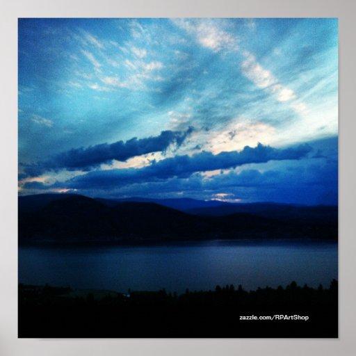Lake Dark Blue Clouds Poster