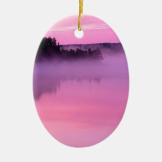 Lake Dawn Ensign Boundary Waters Canoe Area Double-Sided Oval Ceramic Christmas Ornament