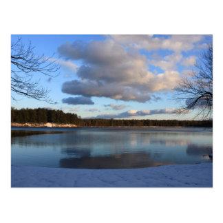 Lake Dennison in Winter Winchendon MA Postcard