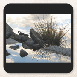 Lake Detail at Marie Lakes, Sierras Square Paper Coaster