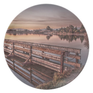 Lake Dock at Sunrise Plate Dinner Plates