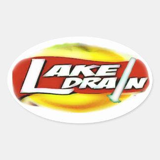 Lake Drain Sun Logo GloSabre Oval Stickers, Glossy Oval Sticker