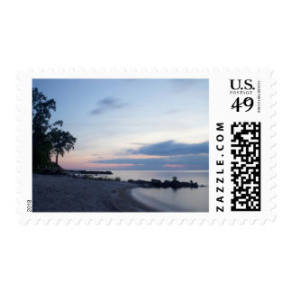 Lake Erie Beach in Evening Postage Stamp