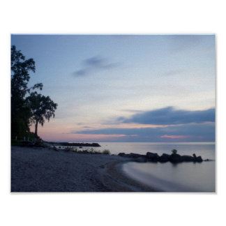 Lake Erie Beach in Evening Poster