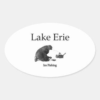 Lake Erie Ice Fishing Oval Sticker