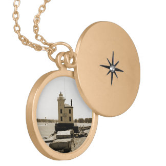 Lake Erie Lighthouse Gold Plated Necklace