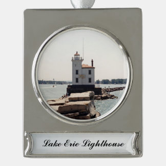 Lake Erie Lighthouse Silver Plated Banner Ornament