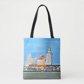 Lake Erie Lighthouse with Wave Tote Bag
