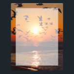 "Lake Erie Sunset Letterhead<br><div class=""desc"">Flock of Birds on Lake Erie - The silhouettes of a flock of birds flying across the sun on the shores of Lake Erie. A funky picture courtesy of National Scenic Byways Online.</div>"