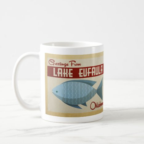 Lake Eufaula Oklahoma Blue Fish Vintage Travel Coffee Mug