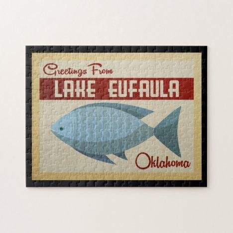 Lake Eufaula Oklahoma Blue Fish Vintage Travel Jigsaw Puzzle