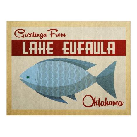 Lake Eufaula Oklahoma Blue Fish Vintage Travel Postcard