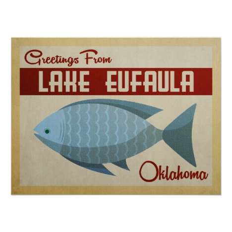 Lake Eufaula Oklahoma Blue Fish Vintage Travel Poster