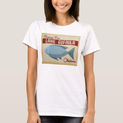 Lake Eufaula Oklahoma Blue Fish Vintage Travel T-Shirt