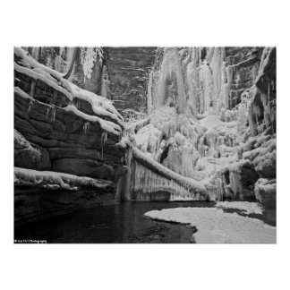 Lake Falls - Frozen Waterfall - Matthiessen SP Poster
