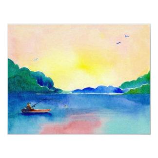 """Lake Fishing Retirement in Watercolor Invitation 4.25"""" X 5.5"""" Invitation Card"""
