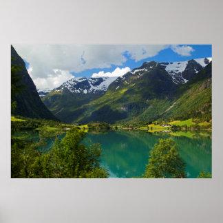 Lake Floen scenic, Norway Poster
