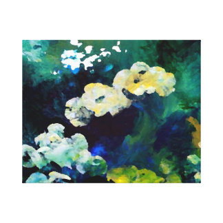 Lake Flowers Floral Teal Decor Artwork Painting