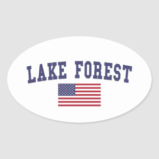 Lake Forest US Flag Oval Sticker