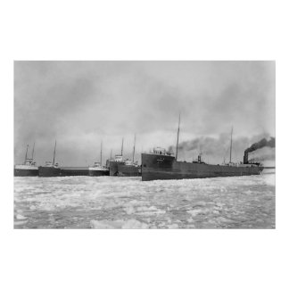 Lake Freighters in Winter Print