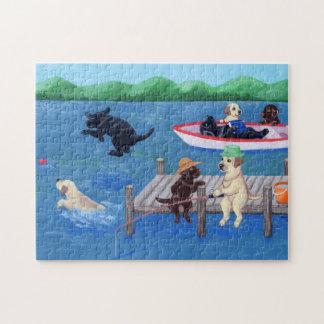 Lake Fun Labradors Jigsaw Puzzle