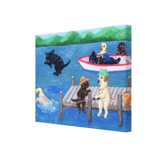 Lake Fun Labradors Painting Canvas Print