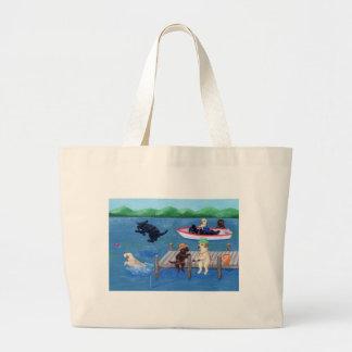 Lake Fun Labradors Painting Large Tote Bag