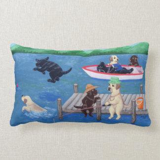 Lake Fun Labradors Painting Lumbar Pillow