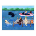 Lake Fun Labradors Painting Post Cards
