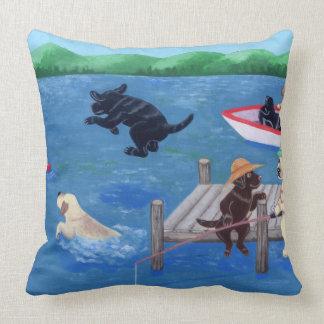 Lake Fun Labradors Painting Throw Pillow