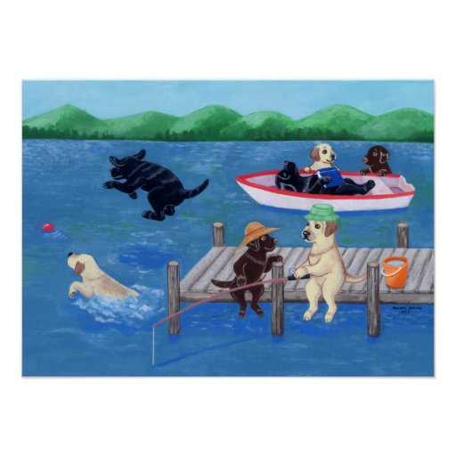 Lake Fun Labradors Poster
