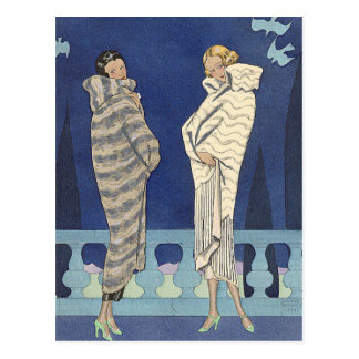Lake Fur Coats by George Barbier Postcard