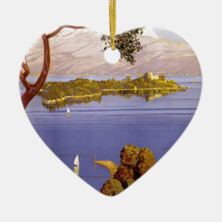Lake Garda Double-Sided Heart Ceramic Christmas Ornament