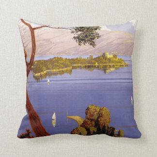 Lake Garda Italy vintage travel throw pillow Cushion