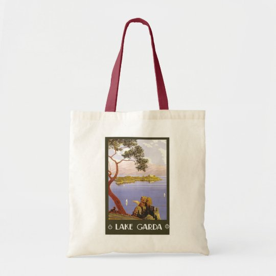 """""""Lake Garda"""" Vintage Italian Travel Poster Tote Bag"""