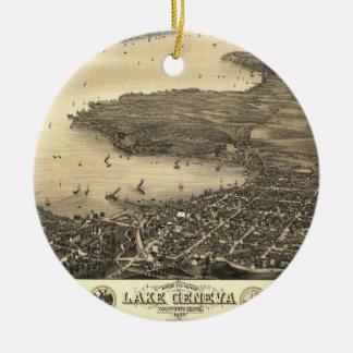 Lake Geneva Vintage Map Ceramic Ornament