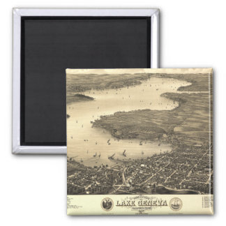 Lake Geneva Vintage Map Fridge Magnet