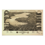 Lake Geneva WI 1882 Antique Panoramic Map Poster