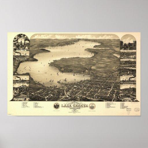 Lake Geneva WI 1882 Antique Panoramic Map Poster