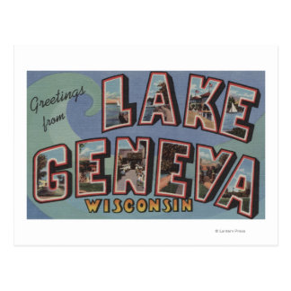 Lake Geneva Wisconsin - Large Letter Scenes Postcards