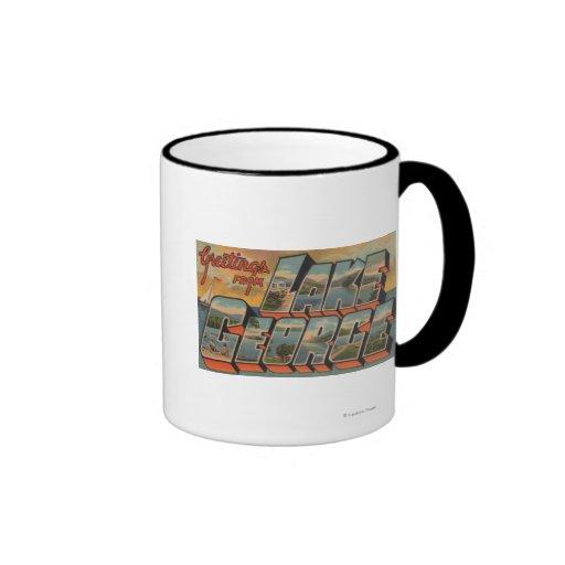 Lake George, New York - Large Letter Scenes Ringer Coffee Mug