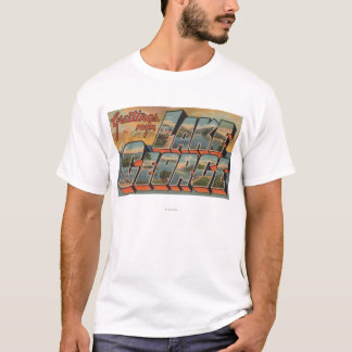 Lake George, New York - Large Letter Scenes T-Shirt
